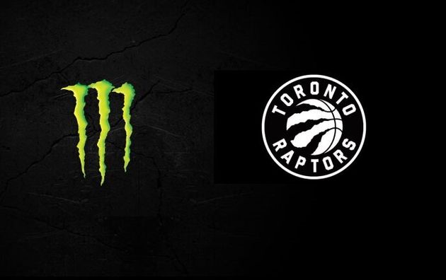 A composite image showing the Monster Energy claw marks and the Toronto Raptors