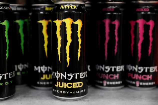 Monster energy drinks are seen for sale at a roadside service station in Reading,