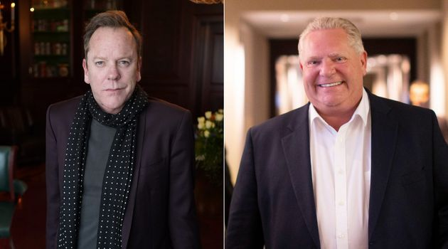 Actor Kiefer Sutherland (left) says comparisons between Ontario Premier Doug Ford (right) and his grandfather,...