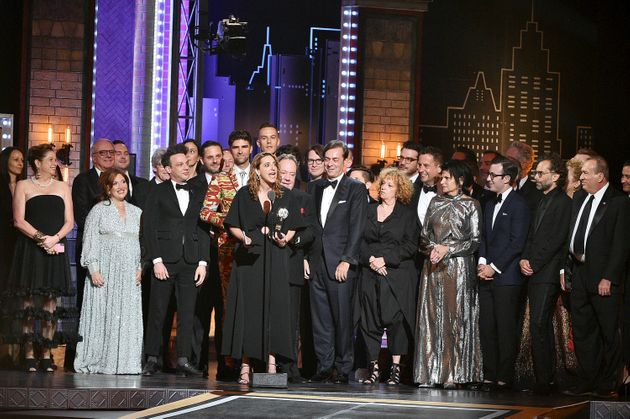 "Producer Eva Price and most of the cast and crew of ""Oklahoma!"" accept the award for Best..."