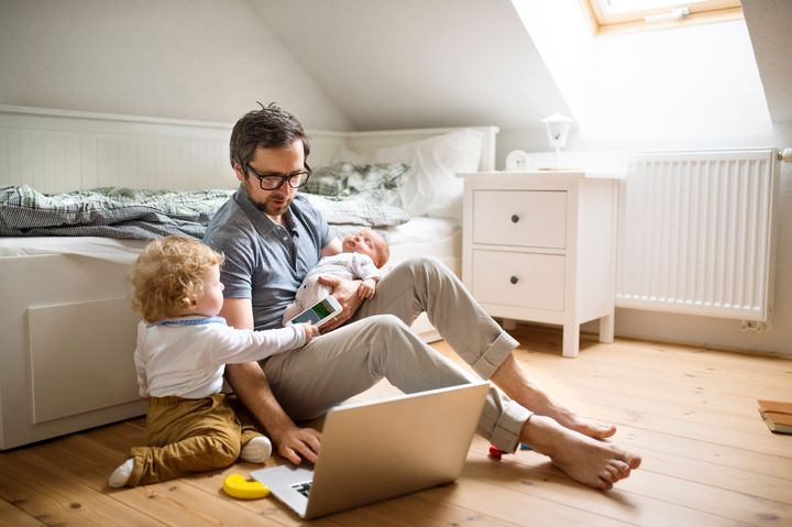 A recent survey found 72 per cent of working dads feel emotionally and physically worn out.