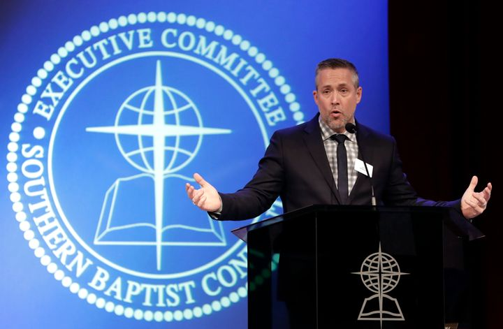 Southern Baptist Convention President J.D. Greear speaks to the denomination's executive committee in Nashville earlier this