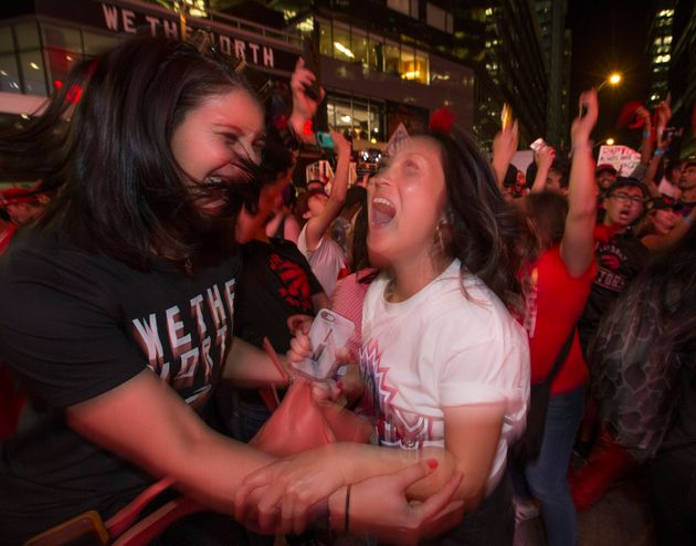 Raptors fans celebrate the Game 4 victory in the NBA Finals against the Golden State Warriors on June...