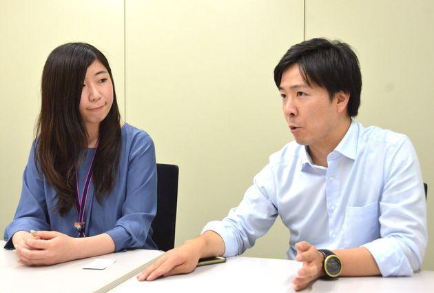 NHKの柳田理央子ディレクター(左)と曽我太一記者