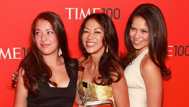 """NEW YORK, NY - APRIL 26:  (C) """"Battle Hymn of the Tiger Mother"""" author Amy Chua and daughters Louisa and Sophia attend the 2011 TIME 100 gala at Frederick P. Rose Hall, Jazz at Lincoln Center on April 26, 2011 in New York City.  (Photo by Charles Eshelman/FilmMagic)"""