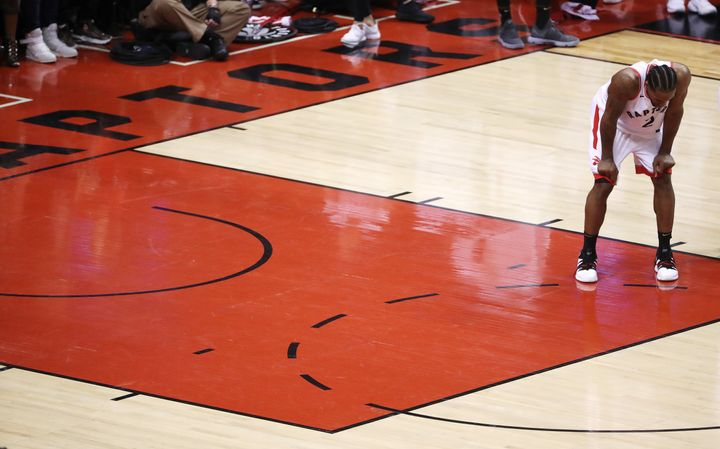 Kawhi Leonard during a time out as the Toronto Raptors lose to the Golden State Warriors in game five of the NBA Finals in Toronto on June 10, 2019.