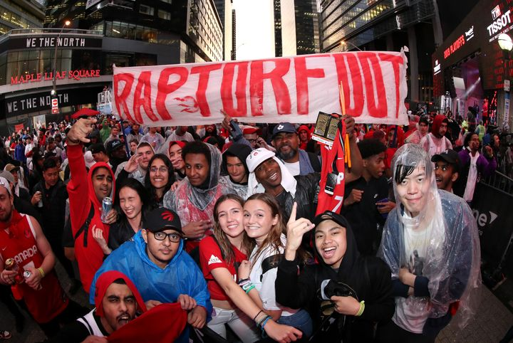 Fans at Jurassic Park during Game Five of the 2019 NBA Finals at Scotiabank Arena on June 10, 2019 in Toronto, Canada.
