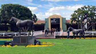 Horses are led to paddocks past the Seabiscuit statue during workouts at Santa Anita Park, as members of the California Horse Racing Board weigh new safety and medication rules in the wake of 22 horse deaths during a meeting at the track in Arcadia, Calif., Thursday, March 28, 2019. The board is considering whether to ban the use of medication and whips on racing days. If approved, Santa Anita would become the first racetrack in the nation to impose such restrictions. (AP Photo/Amanda Lee Myers)