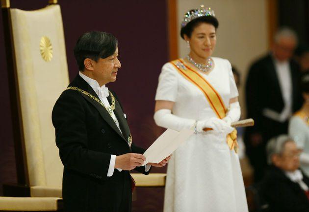「即位後朝見の儀」でお言葉を述べられる新天皇陛下=2019年05月01日