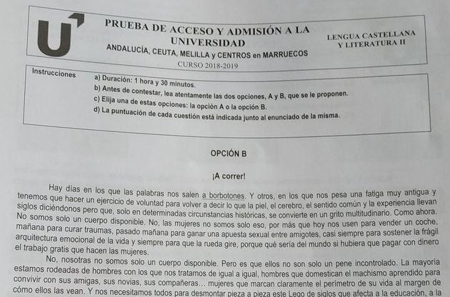 El texto feminista de la Selectividad de Andalucía que ha generado multitud de