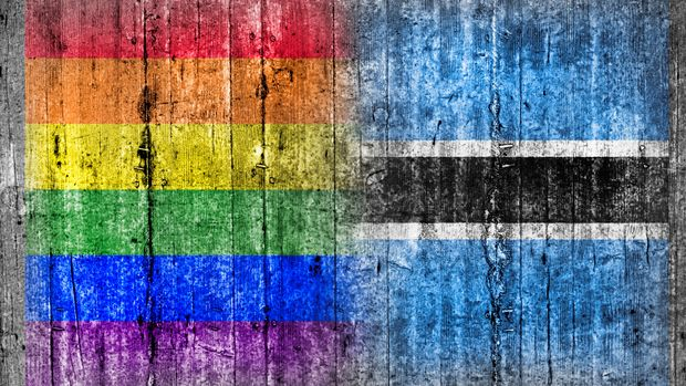 LGBT and Botswana flag on concrete wall