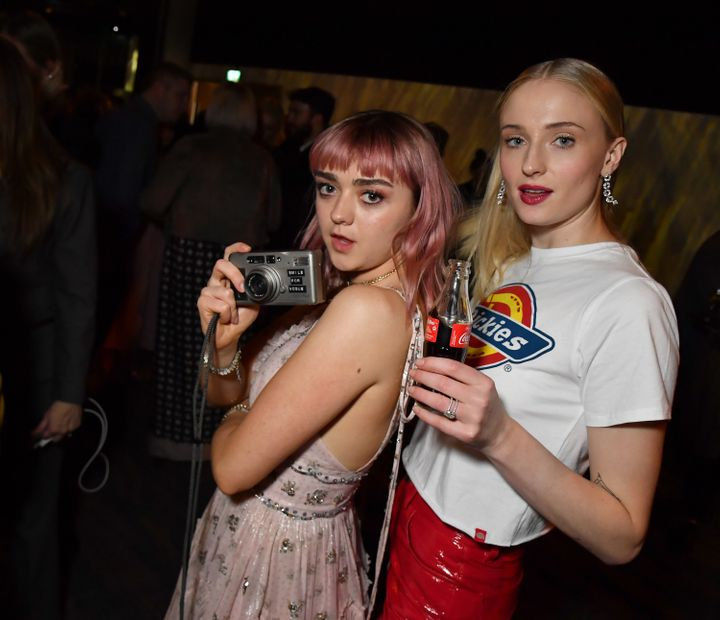 "Maisie Williams and Sophie Turner at the ""Game of Thrones"" season finale premiere in Belfast in April."