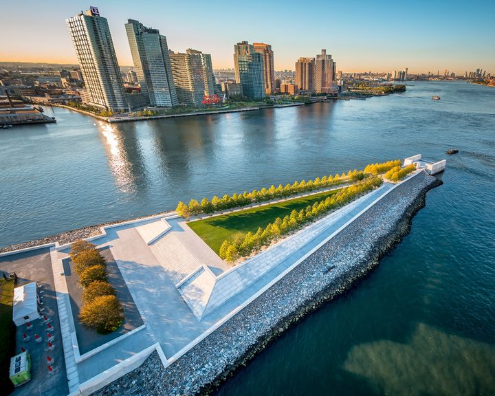 The Four Freedoms Park, which opened in 2012, is located on the southern tip of Roosevelt Island in New York City.
