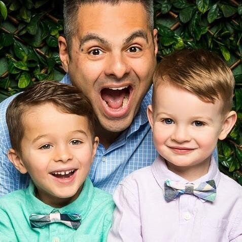 Frank Emanuele with his two kids. Trying to balance work and life just adds to his fatigue.