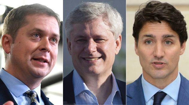 A composite image of Conservative Leader Andrew Scheer (left), former prime minister Stephen Harper (centre),...