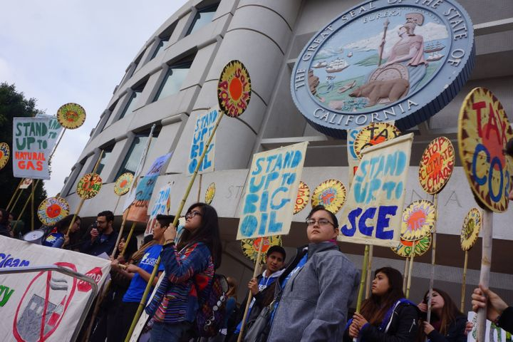Protesters rally against the proposed gas plant outside the California Public Utilities Commission in December 2015.