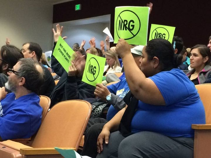 Attendees share their thoughts on power plant developer NRG at a CPUC hearing in 2015.