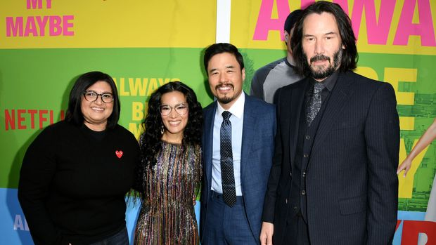 """WESTWOOD, CALIFORNIA - MAY 22: (L-R) Nahnatchka Khan, Ali Wong, Randall Park and Keanu Reeves arrive at the premiere of Netflix's """"Always Be My Maybe"""" at the Regency Village Theatre on May 22, 2019 in Westwood, California. (Photo by Kevin Winter/Getty Images)"""