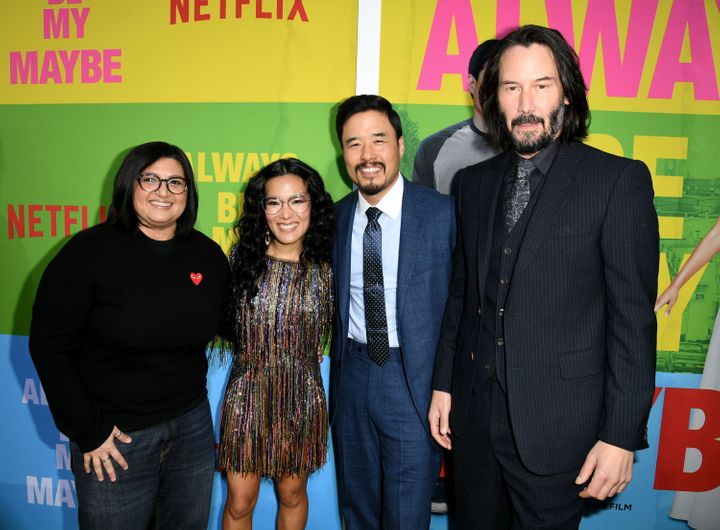 Director Nahnatchka Khan poses alongside writers and stars Ali Wong, Randall Park and co-star Keanu Reeves.