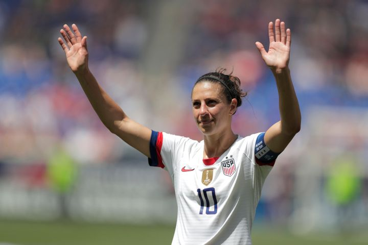 Carli Lloyd, a midfielder on the U.S. women's national team. She got a hat trick in the 2015 World Cup, including a goal scored from the midfield. Bonkers.