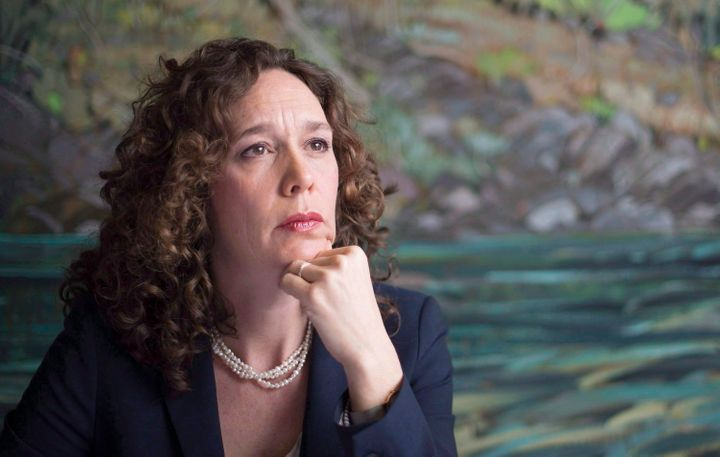 Tzeporah Berman pauses for a moment during a news conference on Canadians' right to be heard on major energy decisions, in Vancouver, B.C. March 23, 2015.