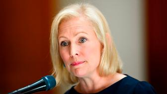 "Democratic presidential candidate Sen. Kirsten Gillibrand (D-NY) addresses an event at the Georgia State Capitol to speak out against the recently passed ""heartbeat"" bill on May 16, 2019 in Atlanta, Georgia. - The bill, which bans abortions after a fetal heartbeat is detected around six weeks, was signed on May 15 by Alabama Governor Kay Ivey. Under the new measure, expected to come into effect in six months, performing an abortion is a crime that could land doctors in prison for up to 99 years. (Photo by John Amis / AFP)        (Photo credit should read JOHN AMIS/AFP/Getty Images)"