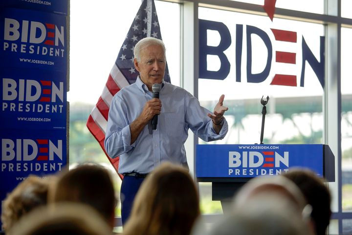 Joe Biden delivers a speech in Iowa on Tuesday attacking President Donald Trump.