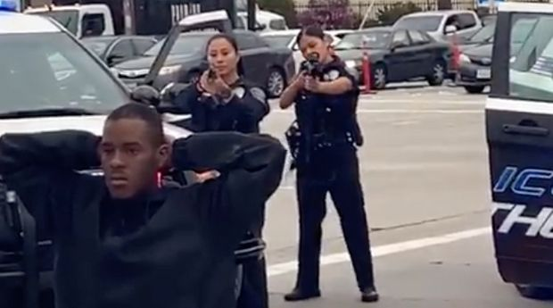 The Hawthorne Police Department is being accused of excessive force after a video showing officers pointing guns at a kneeling black man went viral.