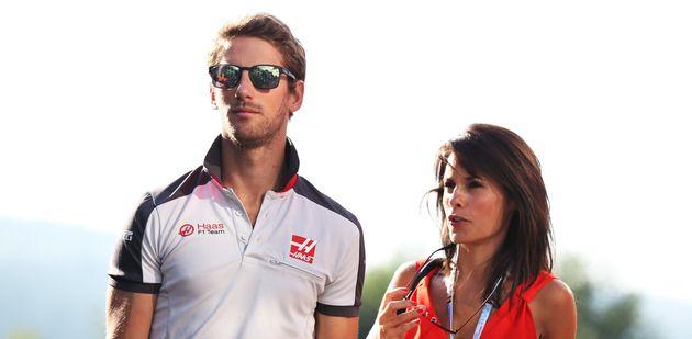 Le pilote de Formule 1 Romain Grosjean et son épouse Marion Jollès, présentatrice...