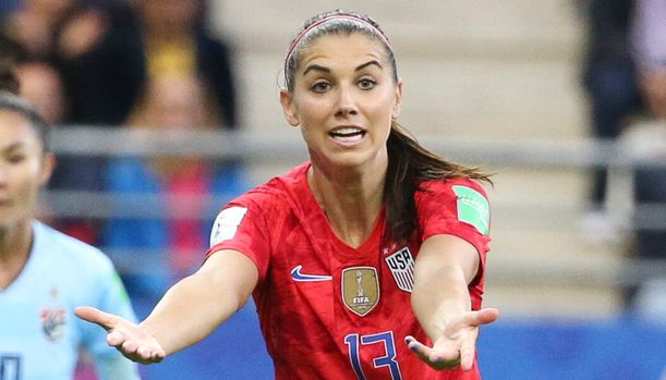 REIMS, FRANCE - JUNE 11: Alex Morgan of USA during the 2019 FIFA Women's World Cup France group F match between USA and Thailand at Stade Auguste Delaune on June 11, 2019 in Reims, France. (Photo by Jean Catuffe/Getty Images)