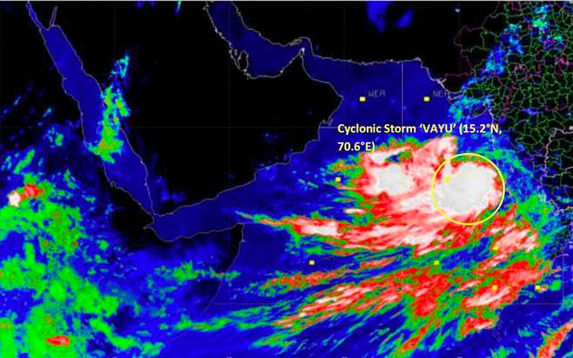This satellite image provided by the India Meteorological Department (IMD) shows Cyclone Vayu on