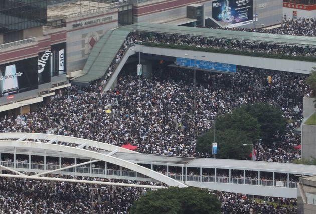 Protestors gathering on