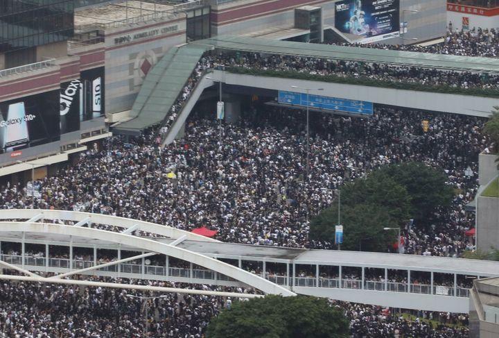 Protestors gathering on Wednesday.