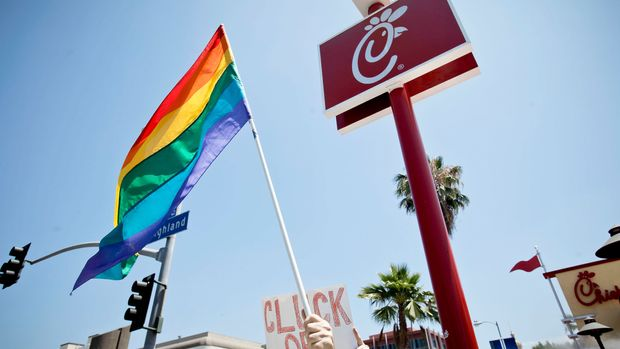 HOLLYWOOD, CA - AUGUST 01:  The Chick-fil-A at the 'Chick-Fil-A Is Anti-Gay!' PETA and LGBT community protest at Chick-fil-A on August 1, 2012 in Hollywood, California.  (Photo by Tibrina Hobson/FilmMagic)
