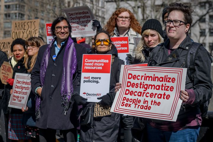 Protesters supporting a movement to decriminalize and decarcerate the sex trades in New York.