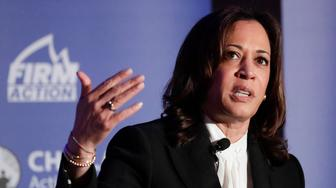Democratic presidential candidate, Sen. Kamala Harris, D-Calif., speaks during a campaign event at the Unity Freedom Presidential Forum Friday, May 31, 2019, in Pasadena, Calif. (AP Photo/Chris Carlson)