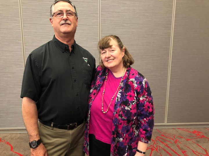 Jean Stanford, right, with her husband, John, at an Iowa GOP fundraiser in West Des Moines, Iowa, on June 11, 2019.