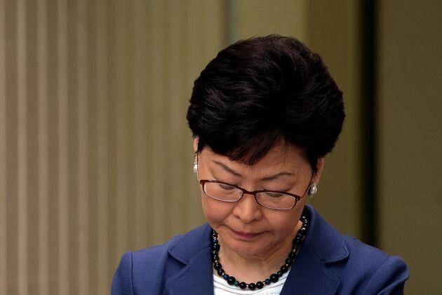 La jefa del Ejecutivo de Hong Kon, Carrie Lam, durante una rueda de prensa sobre el proyecto de ley el...