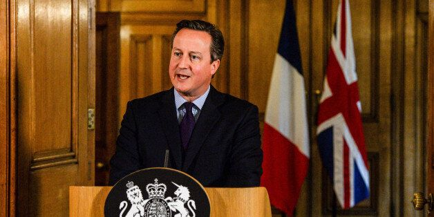 Prime Minister David Cameron speaks in the State Dining Room of 10 Downing Street, London after chairing...