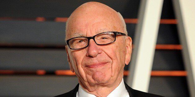 FILE - In this Feb. 22, 2015 file photo, Rupert Murdoch arrives at the 2015 Vanity Fair Oscar Party in...
