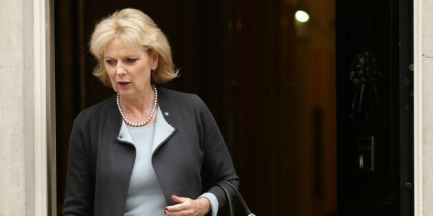Minister for Small Business Anna Soubry leaves after a Cabinet meeting at 10 Downing Street, London,...