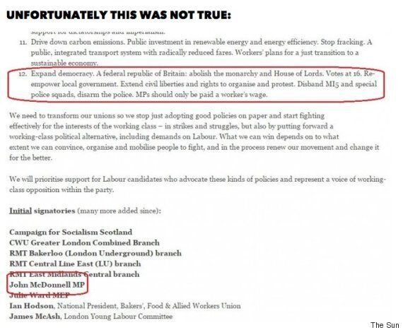 John McDonnell MI5 Letter Signature Denied By Socialist Campaign For Labour