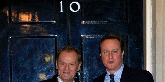 Prime Minister David Cameron (right) greets European Council president Donald Tusk at 10 Downing Street...