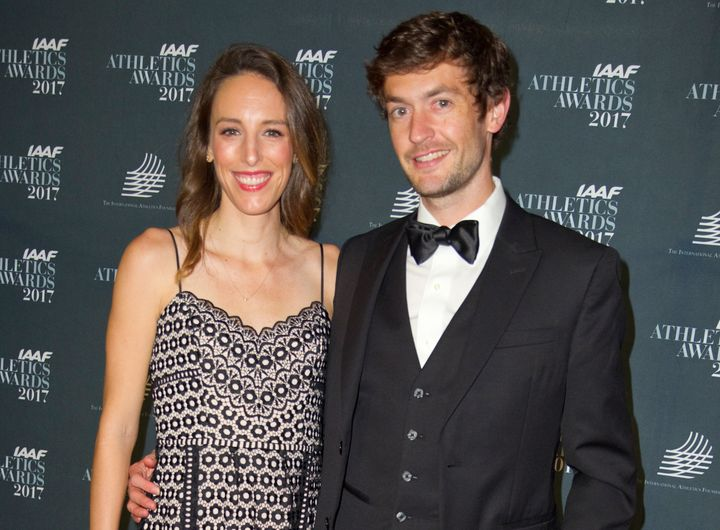 Gabriele Grunewald is seen with her husband, Justin, at the IAAF Athletics Awards in Monaco in 2017.