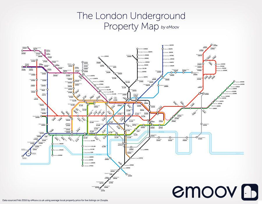 London Underground Tube Map Reveals Most Expensive House Prices By