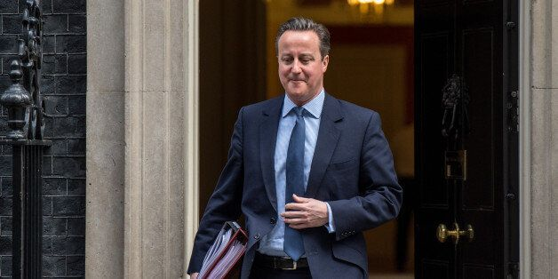 LONDON, ENGLAND - FEBRUARY 03: British Prime Minister David Cameron leaves number 10 Downing Street to...