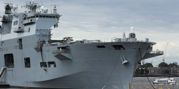 HMS Ocean, the Royal Navy's largest ship, moored on the River Thames outside Greenwich where it stayed...