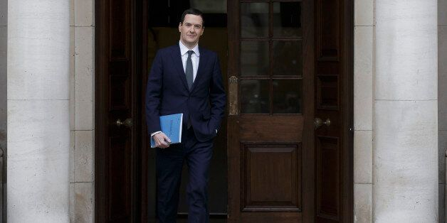 Britain's Chancellor of the Exchequer George Osborne leaves the Treasury for the House of Commons to...