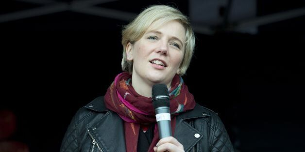 Stella Creasy MP talks during the One Billion Rising 2015 Protest to end sexual violence against women...