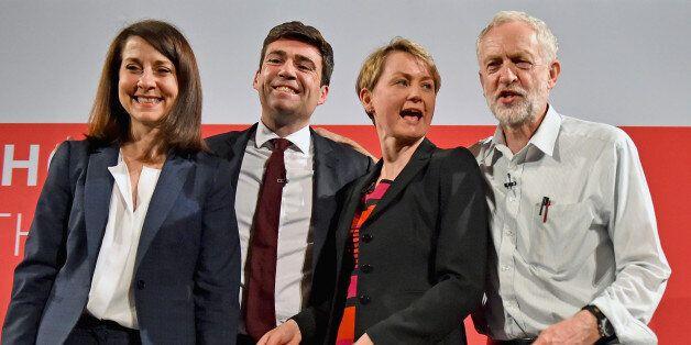 GLASGOW, SCOTLAND - JULY 10: Labours candidates for Leader and Deputy Leader Liz Kendall,Andy Burnham,...